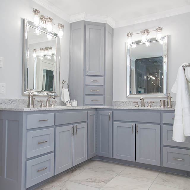 Custom cabinets, SW software, sherwin Williams paint 7074, double vanity bathroom, custom shower with rain fall shower head